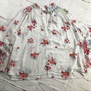 Lucky Brand keyhole floral blouse with bell sleeve